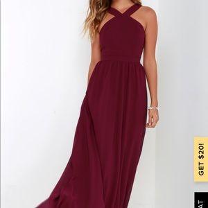 Lulus Air of Romance Burgundy Dress